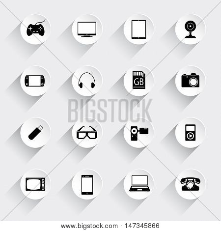 Icons set of gadgets. Joystick, PC, tablet, console, headphones, card, memory, camera, glasses, camera, player, television, telephone, mobile, laptop.