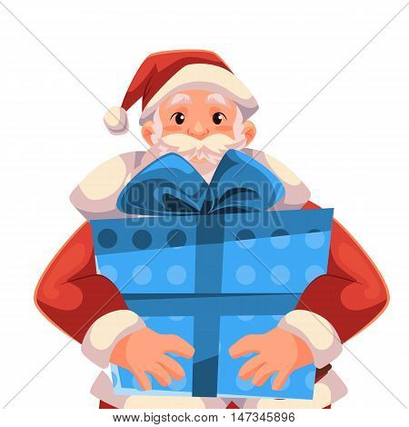 Santa Claus holding a Christmas gift box, cartoon style vector illustration isolated on white background. Half length portrait of Santa holding a blue present box, Christmas decoration element