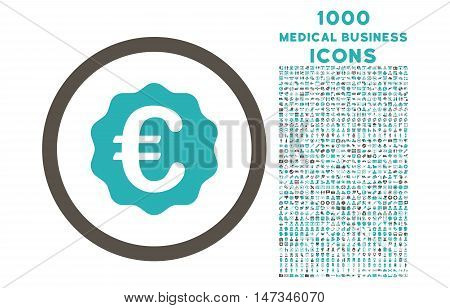 Euro Reward Seal rounded vector bicolor icon with 1000 medical business icons. Set style is flat pictograms, grey and cyan colors, white background.