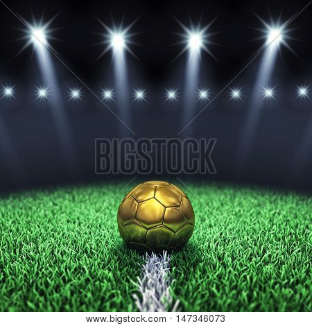 Soccer arena and golden ball with floodlights , Football stadium , 3d illustration