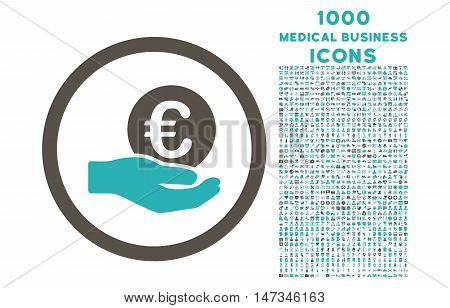 Euro Salary Hand rounded vector bicolor icon with 1000 medical business icons. Set style is flat pictograms, grey and cyan colors, white background.