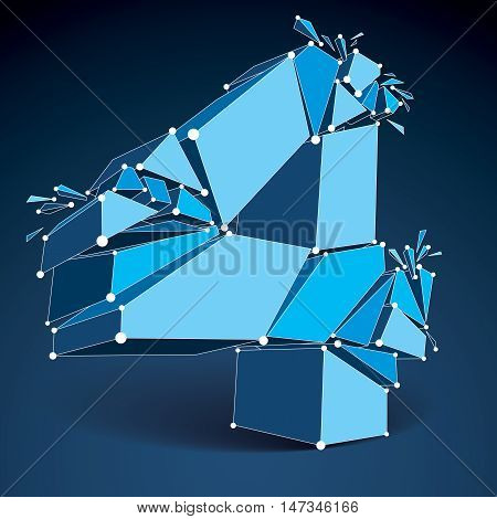 3d vector digital wireframe number 4 broken into different particles geometric polygonal numeration with lines mesh. Low poly shattered typescript lattice element.