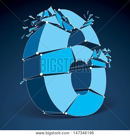 3d vector low poly blue number 6 with white connected lines and dots geometric wireframe font with fragments. Perspective shattered digit with thread.