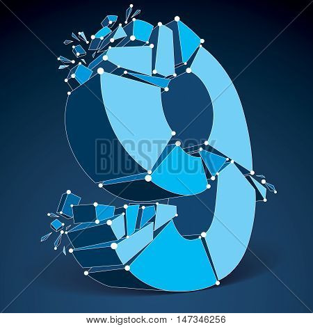 Abstract 3d faceted blue number 9 with connected black lines and dots. Vector low poly shattered design element with fragments and particles. Explosion effect thread.
