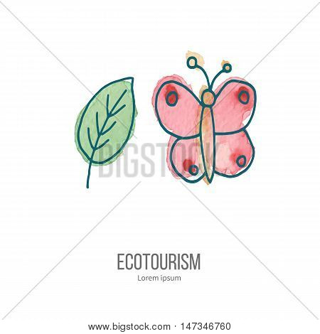 Pink utterfly and green leaf. Ecotourism monochromatic line design element on hand painted abstract watercolor texture. Emblem logo template isolated on white background. Hand drawn doodle vector illustration.