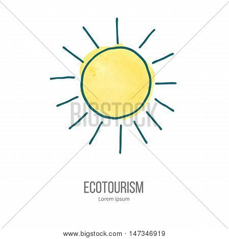 Shining sun. Ecotourism monochromatic line design element on hand painted abstract watercolor texture. Emblem logo template isolated on white background. Hand drawn doodle vector illustration.
