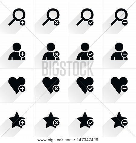 16 additional sign flat icon with gray long shadow. Black sign on white background. Tidy clean simple minimal solid plain style. Vector illustration web internet design element 8 eps