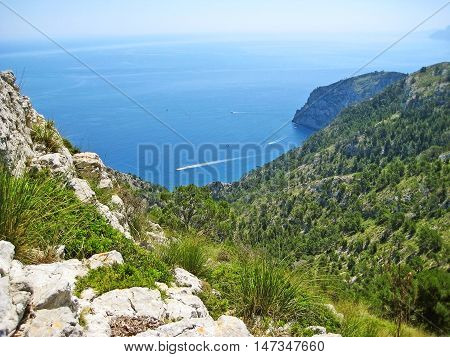 Coll Baix, Majorca - View From Above Of Peninsula Victoria