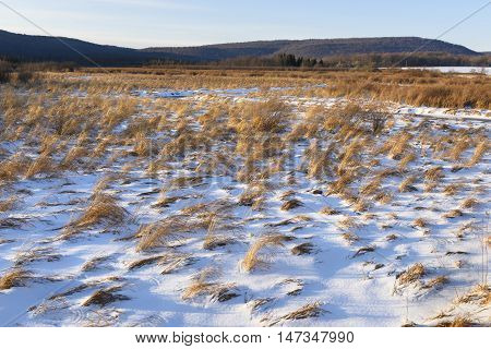 Snow Covered Field in Winter with View of Hills