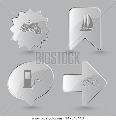 4 images: motorcycle, yacht, fueling station, bicycle. Transport set. Glass buttons on gray background. Vector icons.