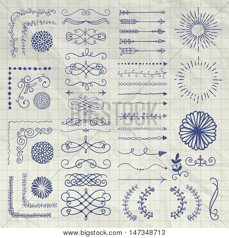 Set of Black Hand Drawn Doodle Design Elements. Rustic Decorative Borders, Dividers, Arrows, Swirls, Scrolls, Corners, Objects on Crumpled Notebook Texture. Vector Illustration