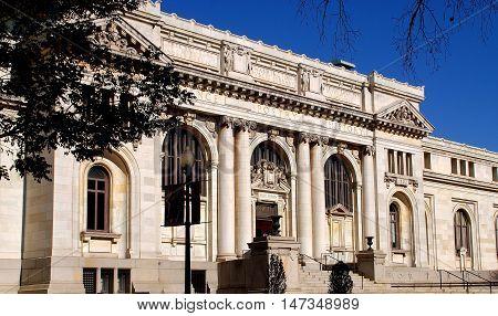 Washington DC - November 17 2012: The no-classical facade of the Washington Public Library built in 1902