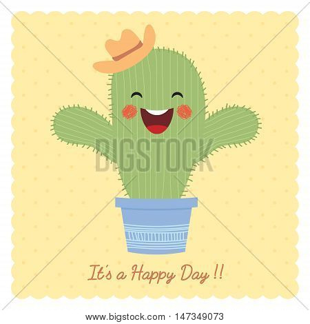 Cute cartoon cactus on beige polka dot background. Hand drawn or doodle cactus. It's a happy day vector illustration.