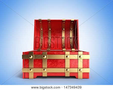 Open Red Chest Empty 3D Render On A Gradient Background