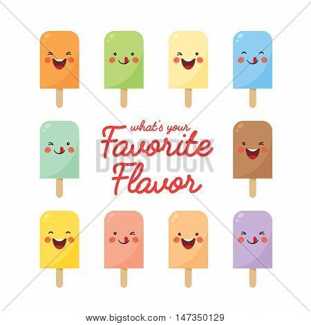 Vector set of various flavor popsicles. Cute smiling cartoon popsicles isolated on white background.