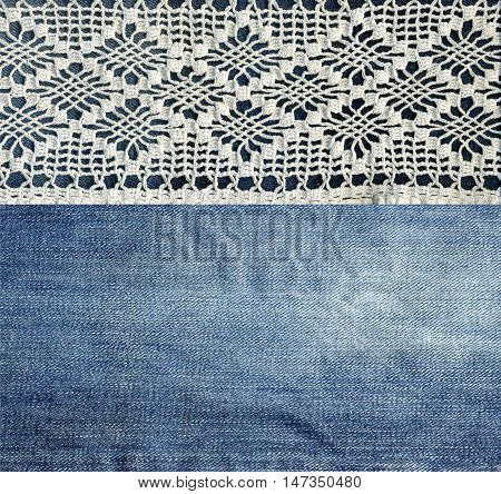 Jeans and lace. Background with denim and handmade lace. Vintage background with lace and denim fabric.