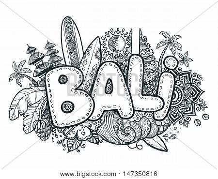 Black vector Bali sign on hand drawn doodle style symbols of Bali island - temples, flowers, palms, waves and surfing boards