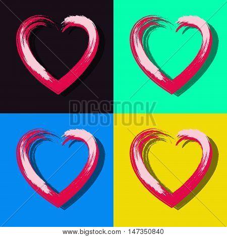 Bright gouache heart in pop art style