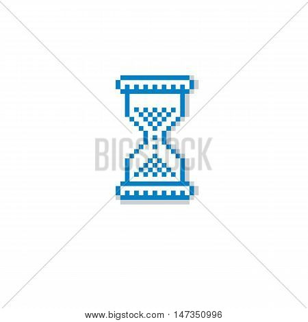 Vector Pixel Icon Isolated, 8Bit Graphic Element. Simplistic Hourglass Sign, Endless Time Idea.
