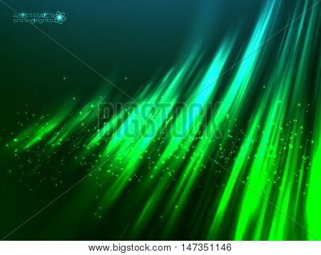 Green aurora polar light vector abstract cosmic background