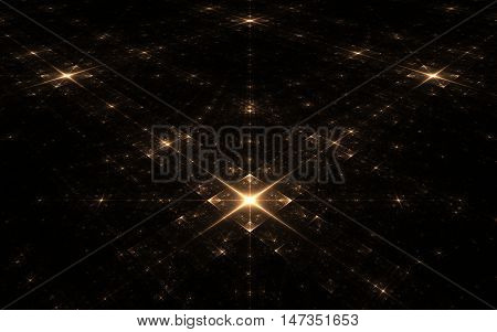 fractal stellar surface in the darkness of the dark space on an imaginary plane with big and small chetyr hkonechnymi stars in luminous squares arranged symmetrically.