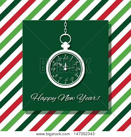 Happy New Year greeting card with watch.