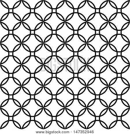 Abstract seamless colorful pattern. Modern background in black and white style. Repeating geometric tiles with ellipse elements.