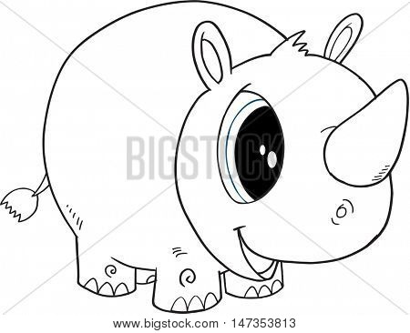 Cute  Doodle Rhino Vector Illustration Art