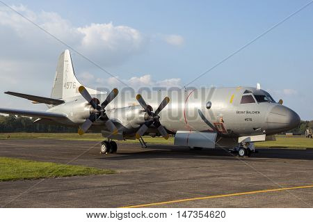 KLEINE BROGEL BELGIUM - SEP 13 2014: Royal Norwegian Navy P-3 Orion maritime surveillance aircraft on the tarmac of Kleine Brogel airbase.