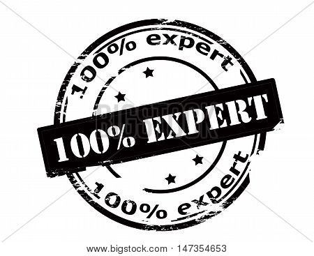 Rubber stamp with text one hundred percent expert inside vector illustration
