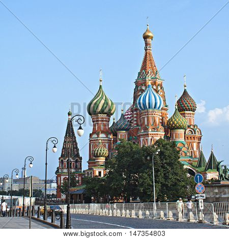 Moscow Russia - Jule 29 2016: St. Basil's Cathedral of Kremlin fortress Russia.
