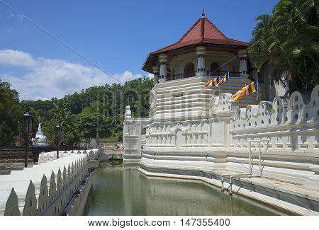 The moat and an ancient tower Octagon. Royal Palace Kandy, Sri Lanka