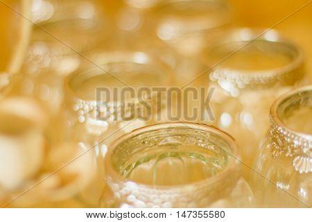 Abstract Glass Jars Yellow Light Depth of Field