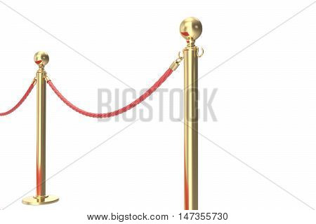 Gold barrier with red rope. 3d illustration isolated on white.