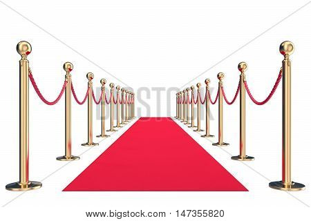 Red velvet carpet in studio with gold barrier. 3d illustration.