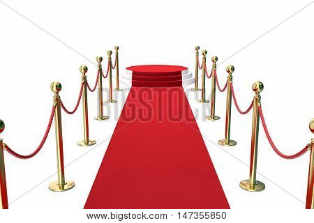 Red carpet with golden barrier and ropes. Stairway to speak. 3d illustration.
