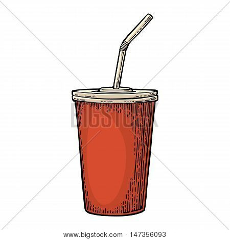 Paper red cup with straws for cola. Isolated on white background. Vector engraving illustration for poster menus web banner icon
