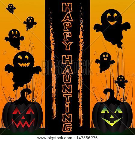 Halloween background. Happy haunting background with ghosts and pumpkins in grass. Orange and yellow gradient background.