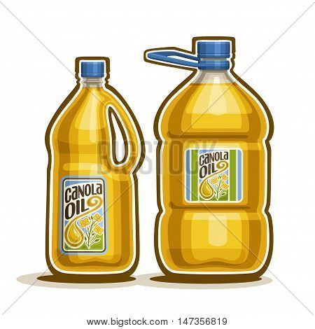 Vector logo 2 big yellow plastic Bottle with Canola Oil and label, gallon canister filled pure cooking colza oil, large container with rapeseed liquid with cap and handle, closeup isolated on white.