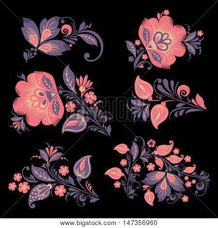 vector Flower set. Romantic Floral elements set. EPS 8