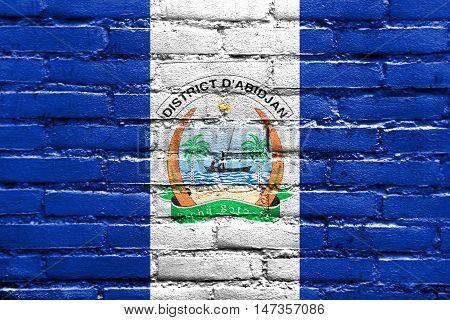 Flag Of Abidjan, Ivory Coast, Painted On Brick Wall
