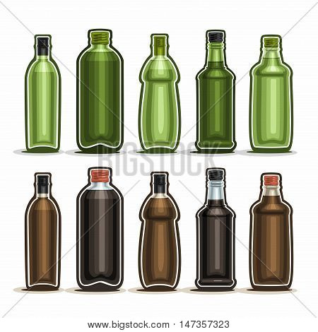 Vector Set logo Glass Bottles with metal cap for alcohol drink, collection of 10 plastic green and brown container bottle with lid for cooking oil or balsamic vinegar isolated on white background.