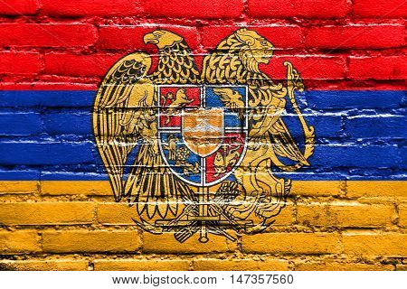 Flag Of Armenia With Coat Of Arms, Painted On Brick Wall