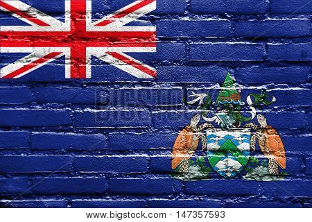 Flag Of Ascension Island, Canada, Painted On Brick Wall