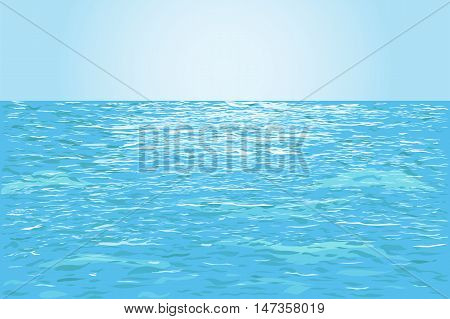 Blue ripple water surface highlighted from sunset or dawn. Vector illustration