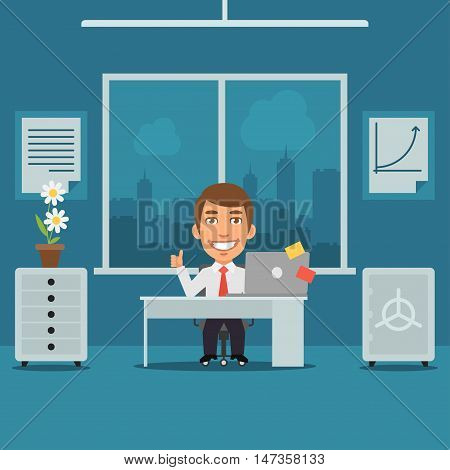 Vector Illustration, Businessman Sitting in Office and Showing Thumbs Up, Format EPS 8