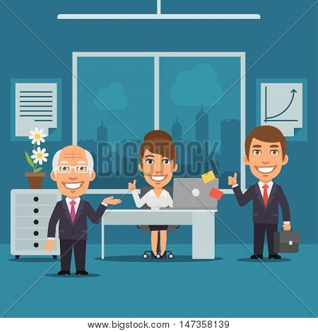 Vector Illustration, Businesswoman and Businessman in Office Smiling, Format EPS 8