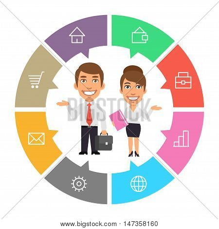 Vector Illustration, Concept Businessman and Businesswoman, Format EPS 8