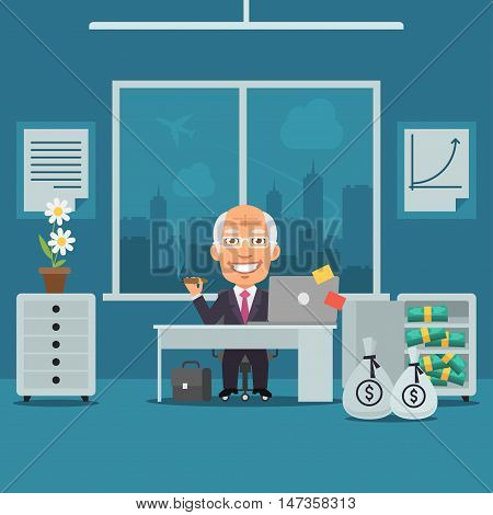 Vector Illustration, Old Businesswoman Sitting in Office and Rejoices Monetary Gain, Format EPS 8