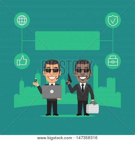 Vector Illustration, Security Guard Holding Gun and Laptop Concept, Format EPS 8